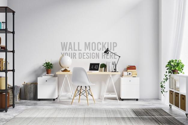 Bello stile bianco scandinavo interno dell'area di lavoro del modello della parete