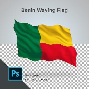Benin flag wave in mockup trasparente