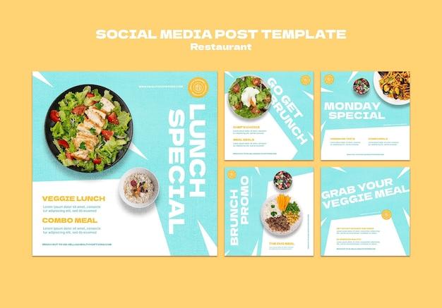 Berichten op sociale media van restaurants