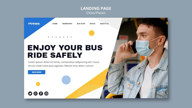Berijd veilig bestemmingspagina-sjabloon Gratis Psd