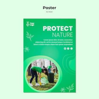 Bescherm de natuur poster sjabloon Gratis Psd