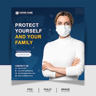 Bescherm jezelf social media post banner
