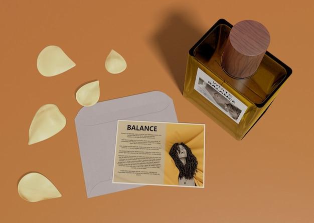 Beschrijvende kaart voor parfumflesje