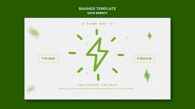 Bespaar energie horizontale banner sjabloon