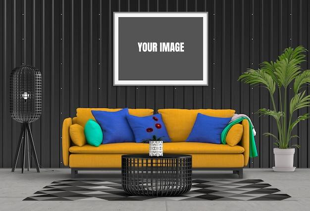Bespotten omhoog affichekader in hipster binnenlandse moderne woonkamer