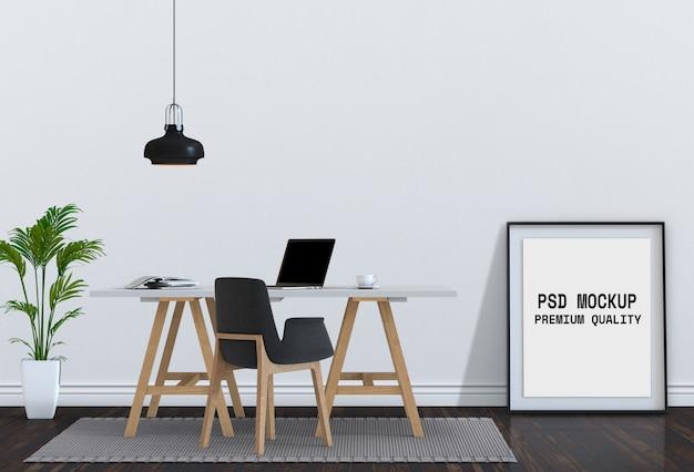 Bespotten poster frame en bureau laptopcomputer. 3d render.
