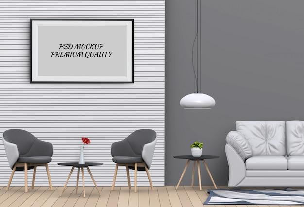 Bespotten poster frame in interieur woonkamer en stoel, 3d renderen