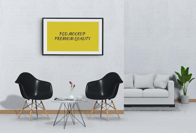 Bespotten poster frame in interieur woonkamer met een bank en een stoel