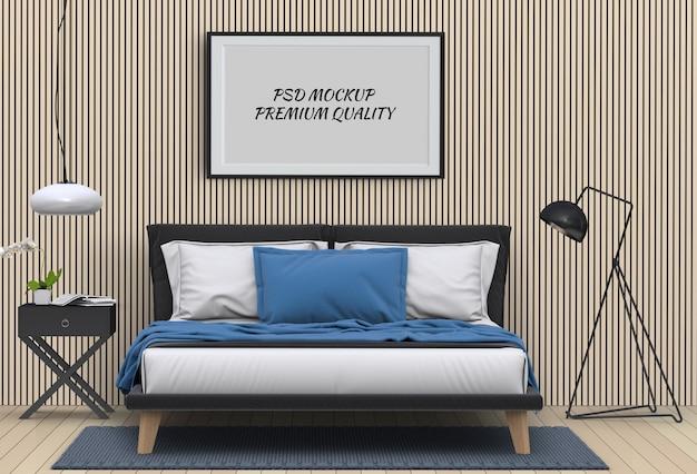 Bespotten van lege poster interieur slaapkamer. 3d render