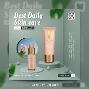 Beste dagelijkse huidverzorgingsproductpromotie social media post of bannersjabloon