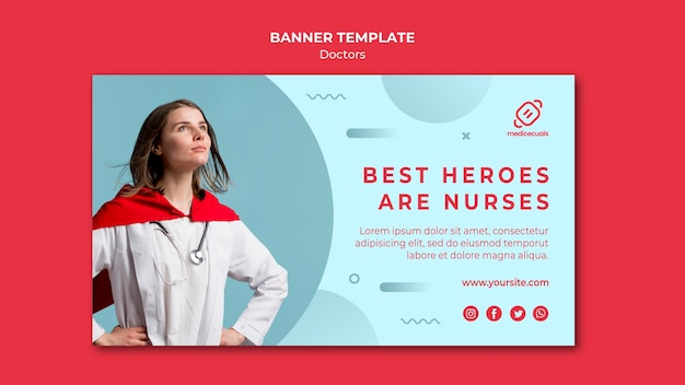 Beste helden zijn sjabloon voor spandoek voor verpleegsters