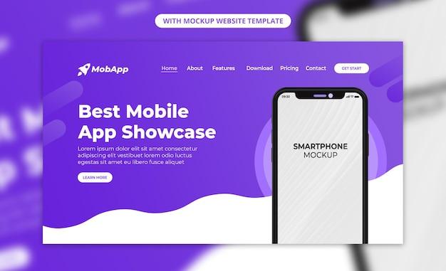 Beste mobiele app-showcase met 3d-render zwarte telefoonwebsite-bestemmingspagina