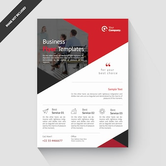 Beste rode rechthoek zakelijke sjabloon folder