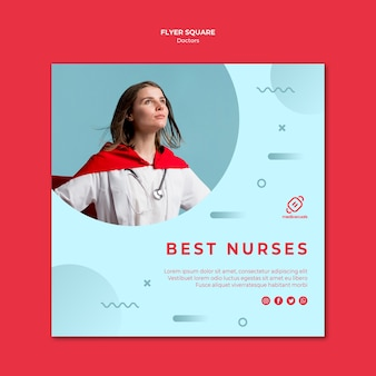 Beste verpleegsters vierkante flyer-sjabloon