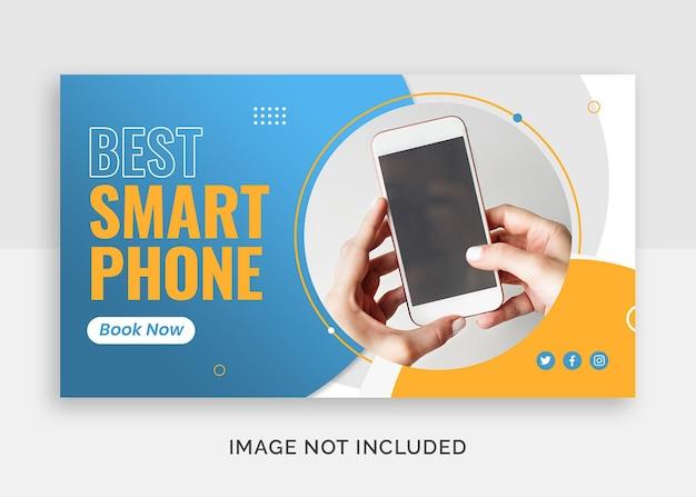 Beste youtube-thumbnail of webbannersjabloon voor mobiele telefoons