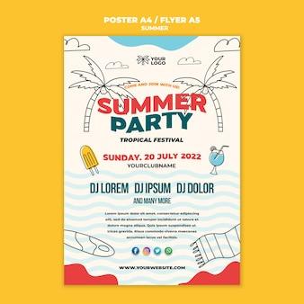 Beste zomerfeest poster sjabloon