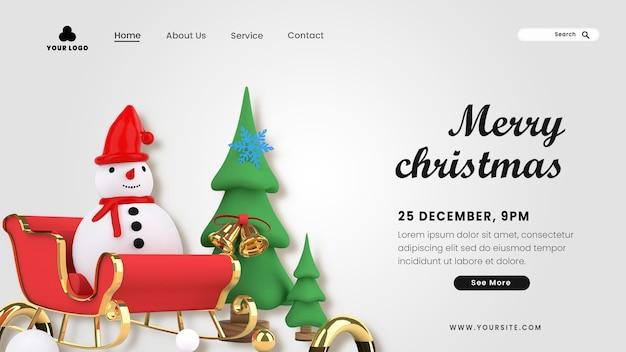 Bestemmingspagina 3d vrolijk kerstfeest