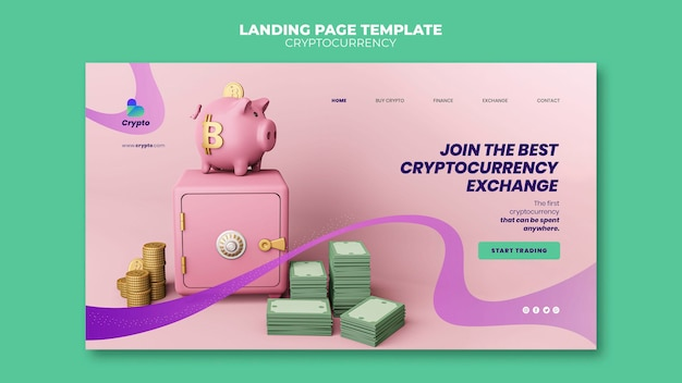 Bestemmingspagina voor cryptocurrency-uitwisseling