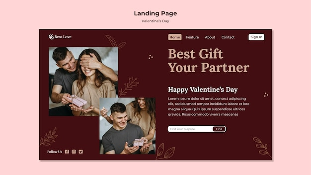 Bestemmingspagina voor valentijnsdag met romantisch koppel