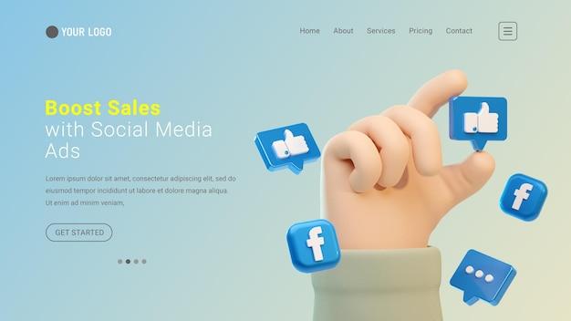 Bestemmingspagina-website met 3d-handgebaar en facebook sociale media iconen facebook