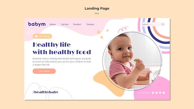 Bestemmingspaginasjabloon voor pasgeboren baby