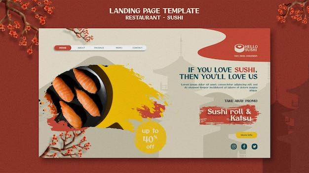 Bestemmingspaginasjabloon voor sushi-restaurant