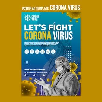 Bestrijd coronavirus poster sjabloon
