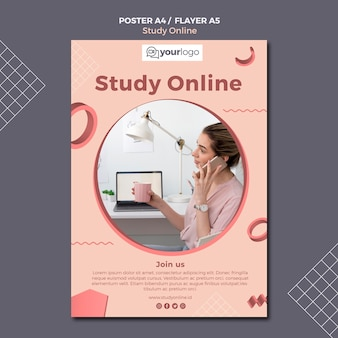 Bestudeer online flyer-sjabloon