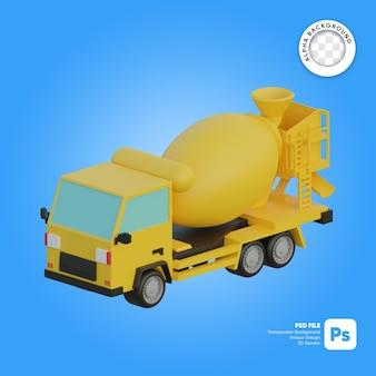 Betonmixer vrachtwagen 3d object isometrisch
