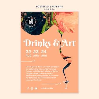 Bevande e design del modello di poster d'arte