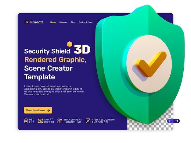 Beveiligingsschild 3d-gerenderde ontwerp