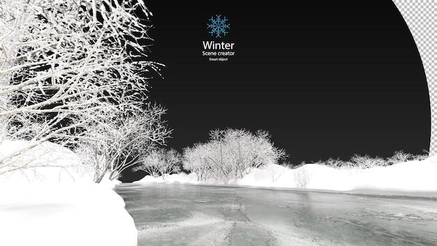 Bevroren meer omgeven door besneeuwde bomen op een heldere winter verschillende winterbomen ontwerpen geïsoleerd uitknippad