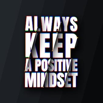 Bewaar altijd een offertesjabloon voor een positieve mindset met afgesneden effect Premium Psd