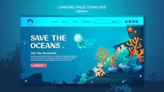 Bewaar de bestemmingspagina van de oceanen