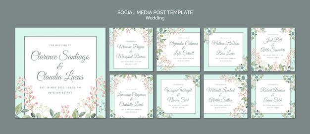 Bewaar de datum bloemen bruiloft social media post