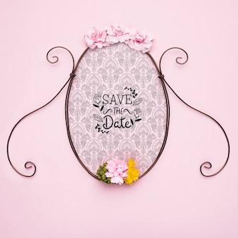 Bewaar de datum mock-up klassieke frame met kleurrijke bloemen