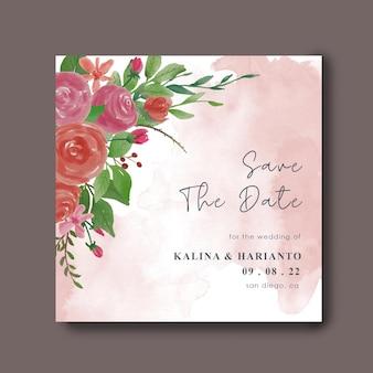 Bewaar de datumkaartsjabloon met aquarel bloemendecoraties
