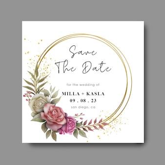 Bewaar de datumsjabloon met aquarel bloemenframes