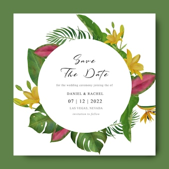 Bewaar de datumsjabloon met aquarel tropische bladdecoraties