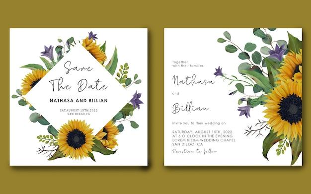 Bewaar de datumsjabloon met handgetekende zonnebloemen en eucalyptusbladeren