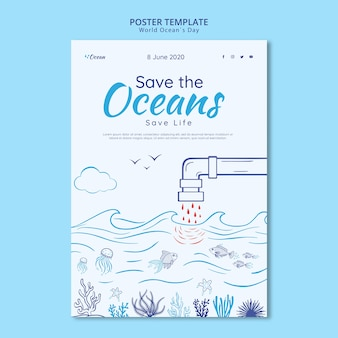 Bewaar de oceanen poster sjabloon