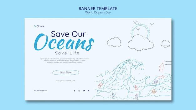Bewaar de sjabloon voor de oceanen-banner