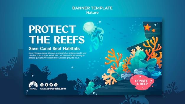 Bewaar de sjabloon voor spandoek van de oceanen