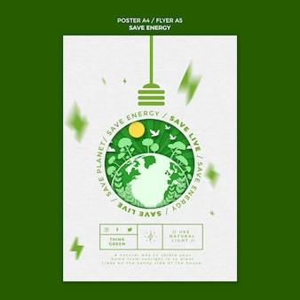 Bewaar energie flyer-sjabloon Gratis Psd