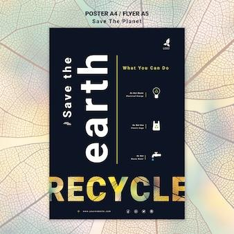 Bewaar het ontwerp van de aarde-flyer