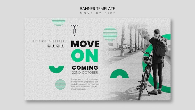 Beweeg door het ontwerp van de fietsbanner
