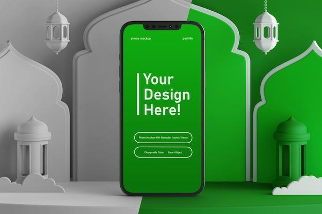 Bewerk kleur smartphone scherm mockup op creatieve 3d render scène ramadan eid mubarak islamitische thema