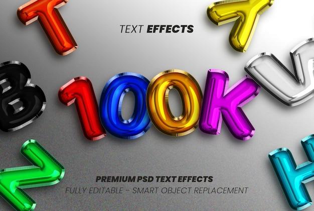 Bewerkbaar 3d 100k volgers tekststijleffect