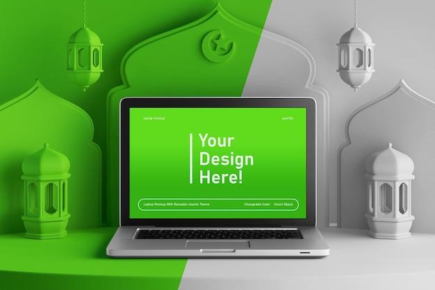 Bewerkbaar kleurenlaptopschermmodel op creatieve 3d render ramadan eid mubarak islamitisch thema Premium Psd
