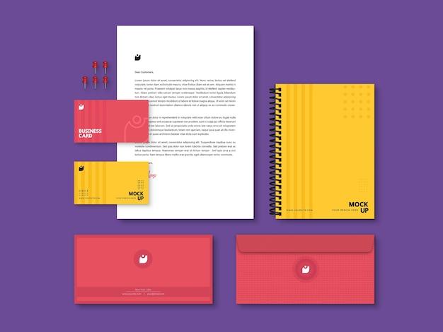 Bewerkbaar, modern, kwalitatief hoogstaand briefpapiermodel voor branding